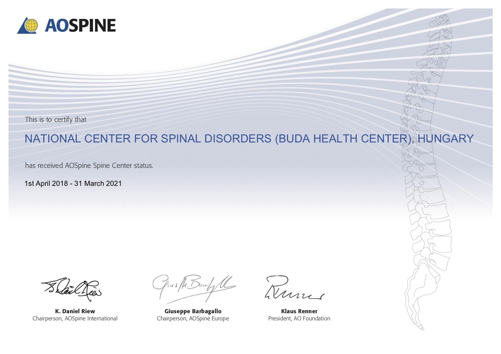 AOSpine Europe vezetősége által kiállított AOSpine Center tanúsítvány
